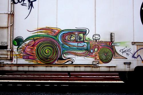 art graffiti colorful hotrod 27 bnsf reefer railroadgraffiti deuceseven deuce7