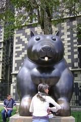 Dozens of Botero sculptures in Parque Berrio, Medellin