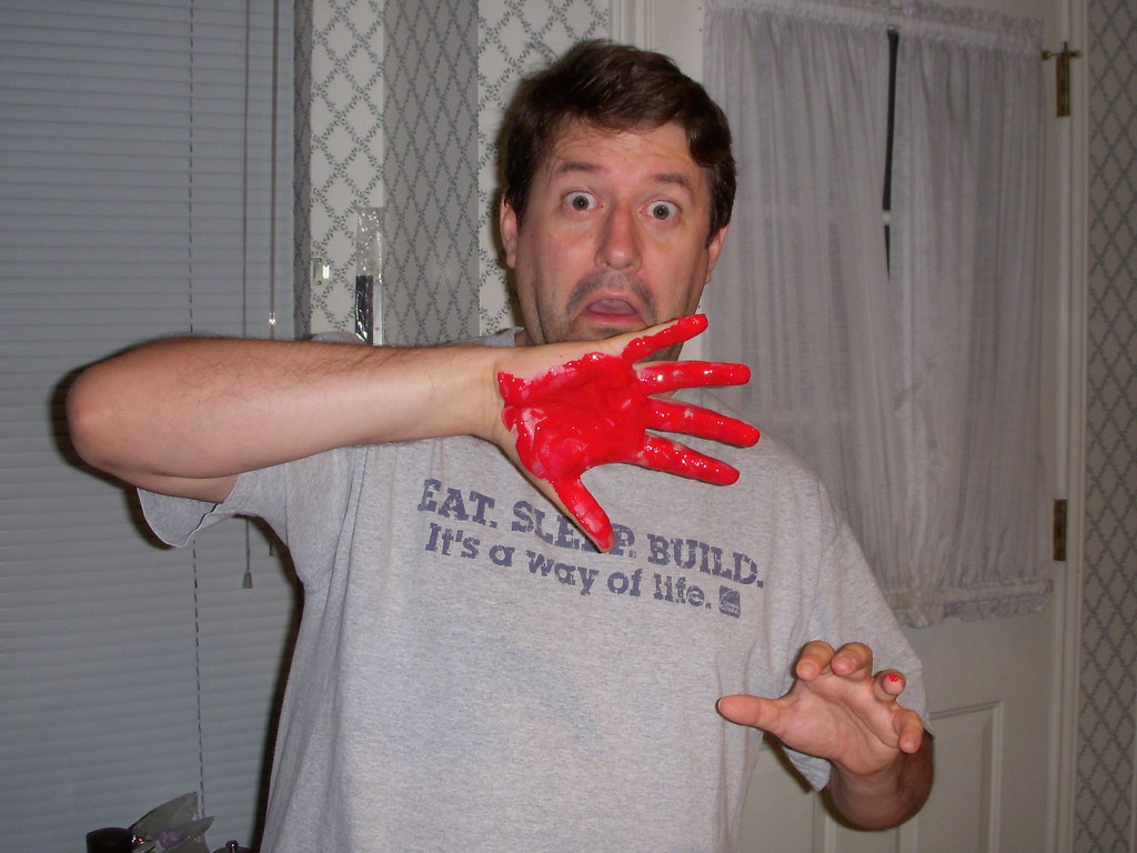 Getting caught red-handed.   Photo take by my wife.   Flickr