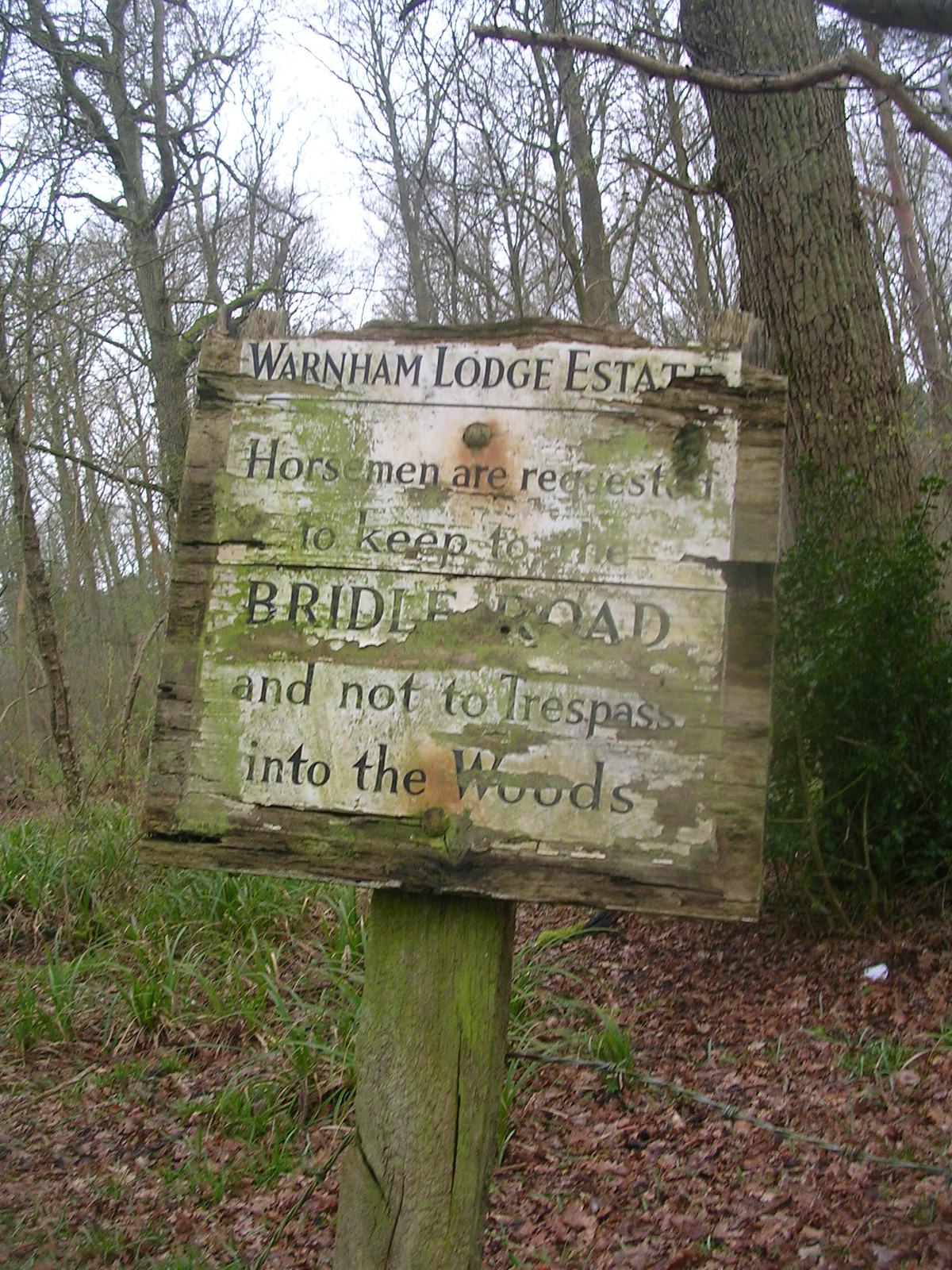 Sign There are a couple of strange signs on this walk. But this one is just quaint. Luckily, we didnt meet any trespassing horsemen. Ockley to Warhham