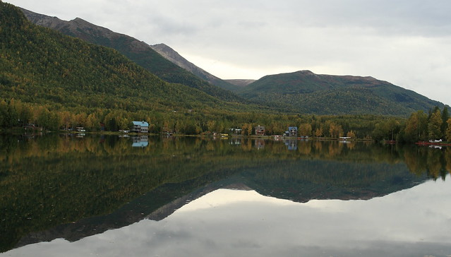 Mirror Lake reflection on a cloudy day