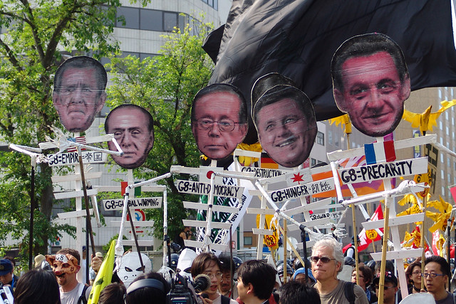 G8 Summit - Antiglobalist demonstration march.