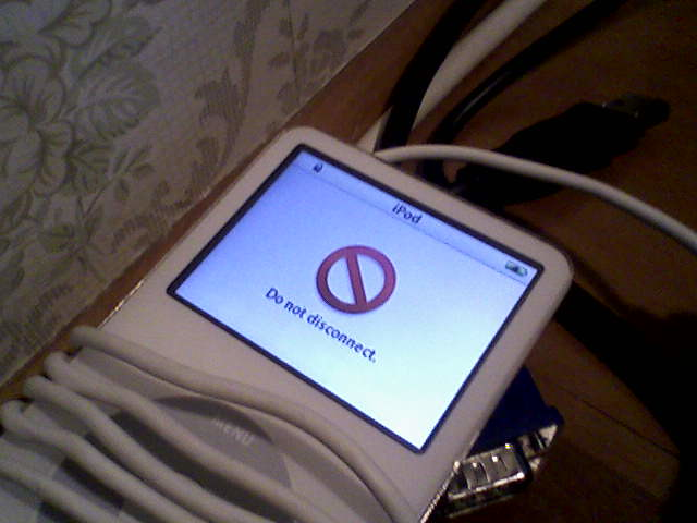 Do Not Disconnect | Message on 5G iPod while connected to co