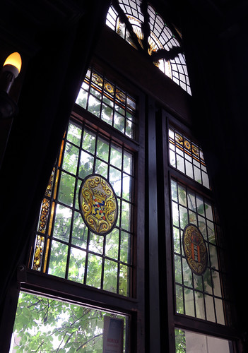 Stained glass window at Café 't Smalle, a 'Brown Café' which is what they call historic pubs in Amsterdam, Holland
