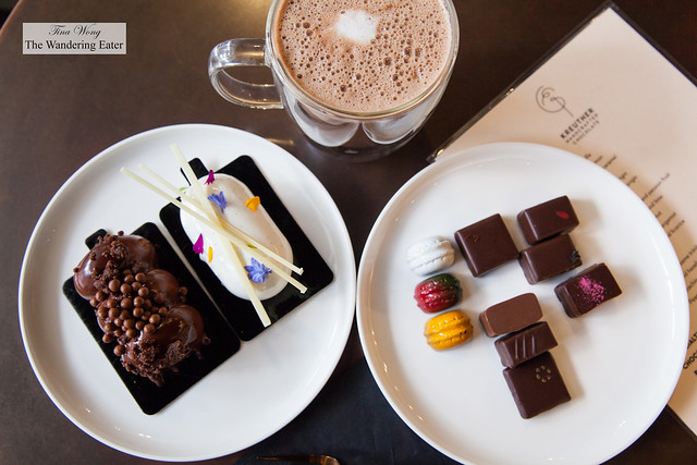Spread of delectable chocolates and pastries and house made hot chocolate
