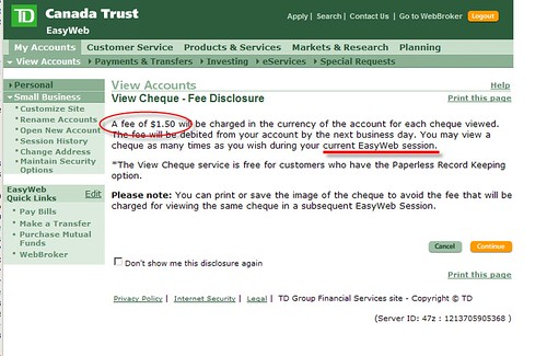 Who still charges to view a check online? TD Bank | Laurent