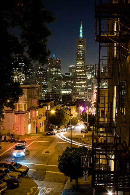 San Francisco night skyline with Transamerica Pyramid from Telegraph Hill