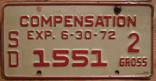 SOUTH DAKOTA 1972 COMPENSATION plate | by woody1778a