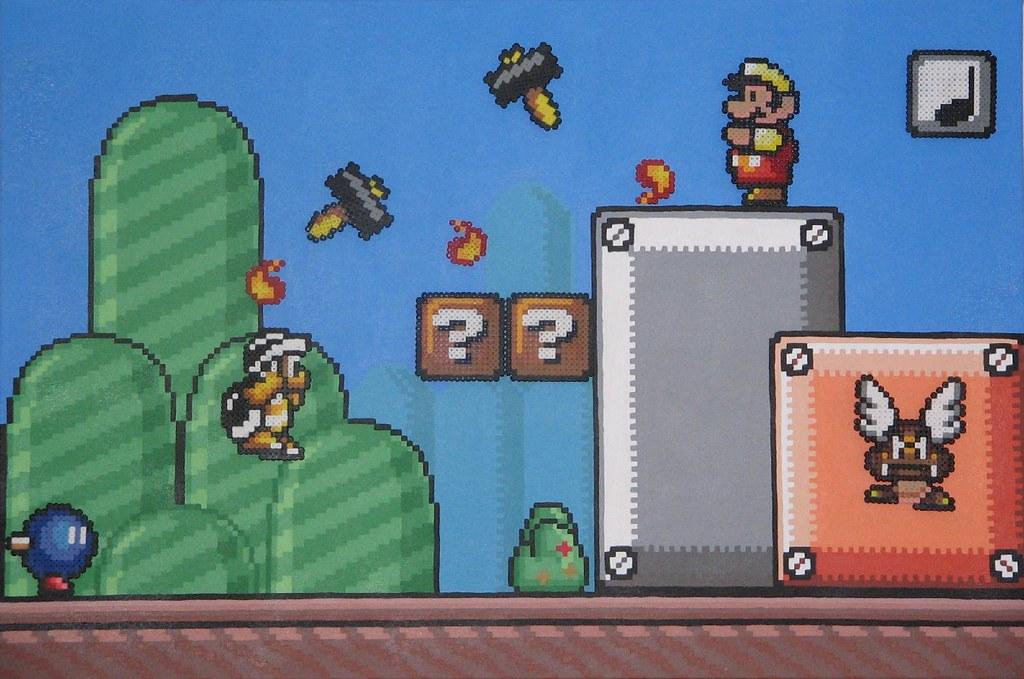 Super Mario Bros 3 & Bead Sprites 36x24 | 2007  acrylic pain… | Flickr