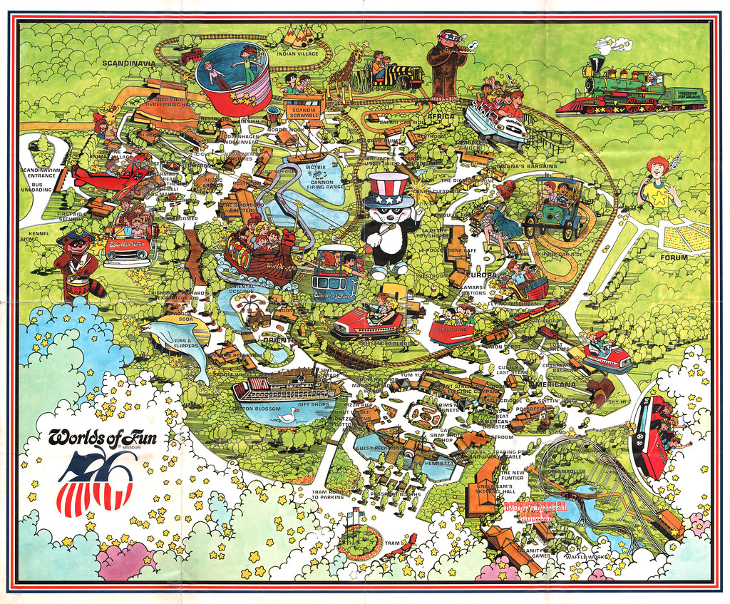Worlds Of Fun Map Vintage Worlds of Fun   Souvenir Park Map Poster   Kansas … | Flickr
