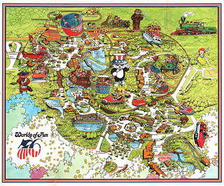 Vintage Worlds Of Fun Souvenir Park Map Poster Kansas