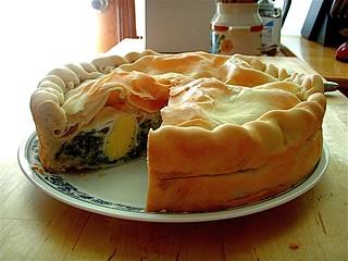 Torta pasqualina sliced