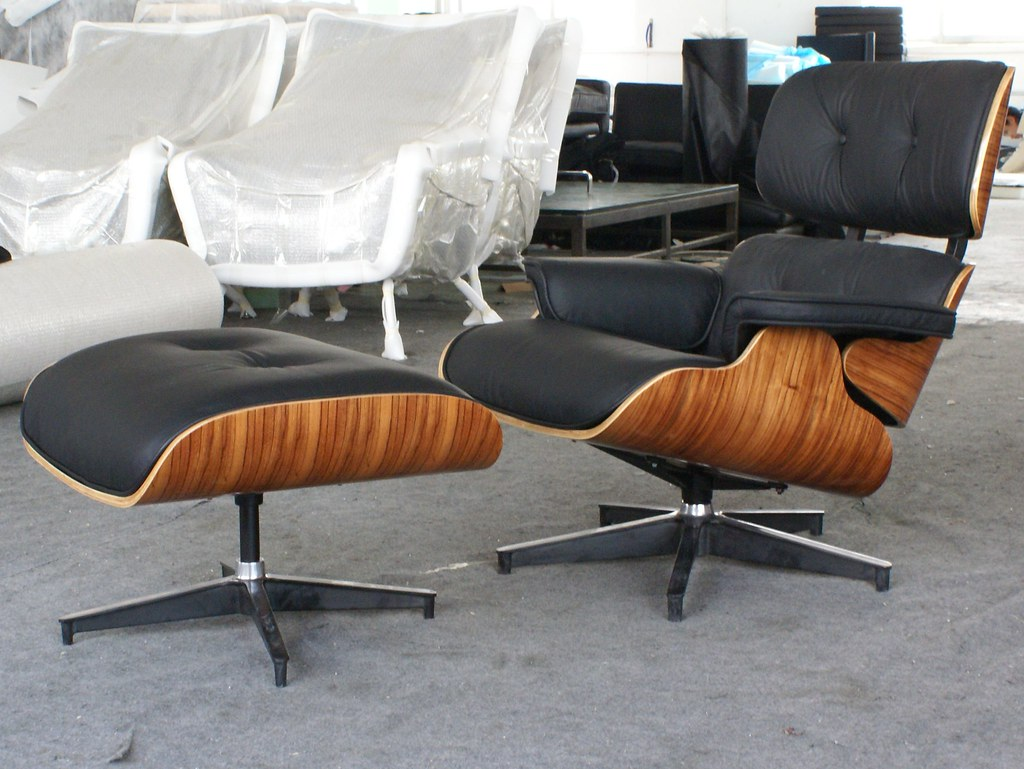 Sensational Icon Eames Style Lounge Chair And Ottoman Cherry Wood Bl Andrewgaddart Wooden Chair Designs For Living Room Andrewgaddartcom
