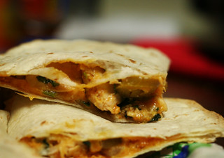 chicken & spinach quesadilla