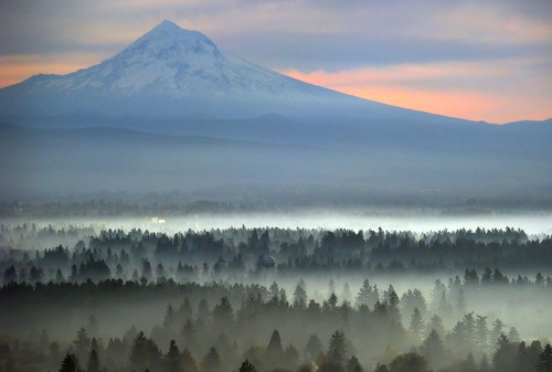 park morning pink blue sky fog oregon sunrise soft view east mounthood rockybutte josephwoodhill