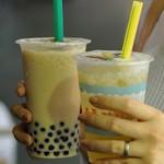 tapioca milk tea & ai yu lemon juice