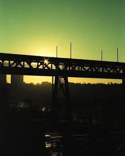 morning bridge sun canada sunrise xpro crossprocessed edmonton fuji minolta mc alberta pf astia highlevelbridge 100f rokkor xgm 11458mm