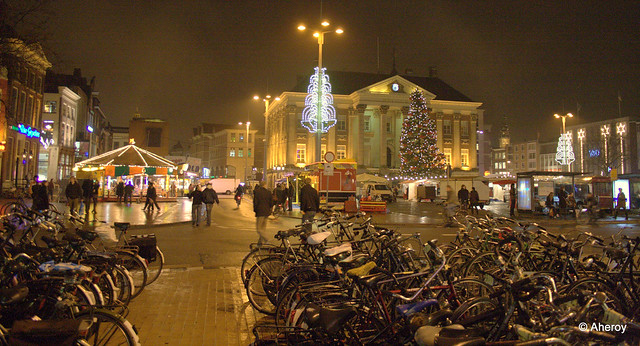 Groningen stad by Night,the Netherlands,Europe.