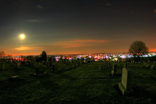 life shadow sky moon grave graveyard night landscape death town shadows view pennsylvania cemetary graves creepy fullmoon pa gravestone palmyra hdr hilltop moonshadows newacademy