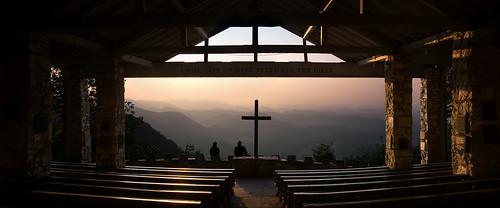 panorama mountain church sunrise geotagged cross rustic southcarolina chapel blueridge prettyplace campgreenville cedarmountain
