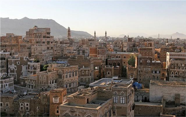 Yemen: maisons-tours dans le vieux Sanaa.