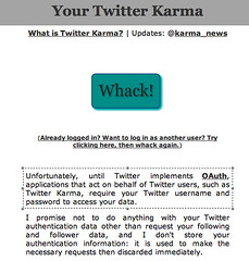 Twitter Karma: no OAuth, so sorry for asking fo username + password...