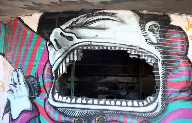 Graffiti in abandoned hotel, Monte Estoril, Portugal