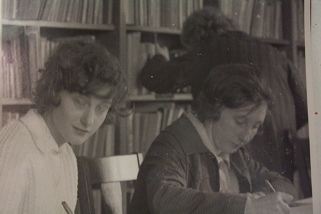 Students -Judith Gatley (L) & Denise Graham at a lecture, Newcastle Teachers' College, Australia - 1964