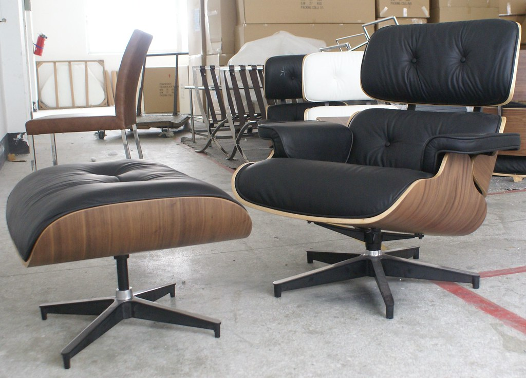 Enjoyable Icon Eames Style Lounge Chair And Ottoman Walnut Black L Beatyapartments Chair Design Images Beatyapartmentscom