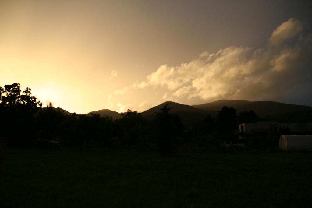 Coucher de soleil sous la pluie
