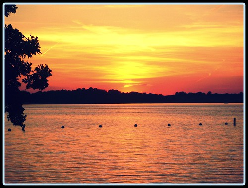 sunset over rock lake