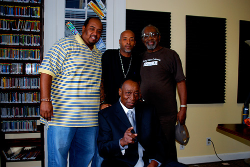 The great Dave Bartholomew with sons Ron, Don, and Dave Jr. at WWOZ in 2008