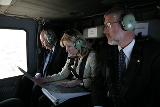 Vice President Cheney, David Addington, and Liz Cheney in Helicopter Lift to Ramallah