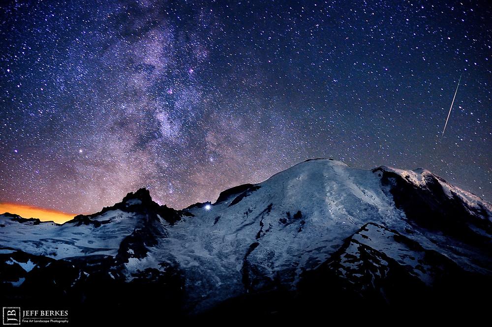 Perseid Meteor over Mount Rainier