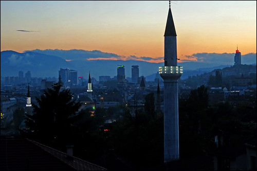 sunset sarajevo bosniaandherzegovina minarets mosques city urban skyline night twilight canon5d cityscape