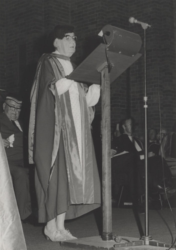 Professor Dorothy Hill, formerly Professor of Geology at the University of Queensland, giving the Occasional Address at Graduation at the University of Newcastle, Australia in 1975 | by Auchmuty Library, UON