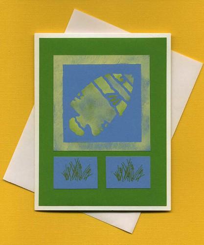 Yellow fish stenciled greeting card