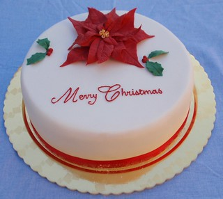 Christmas cake with poinsettia and holly | by a matter of taste