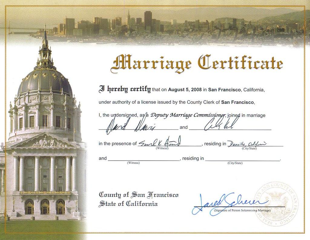 california san francisco county marraige records