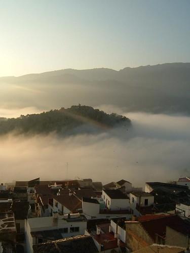mist sunrise spain village valley beutiful benojan