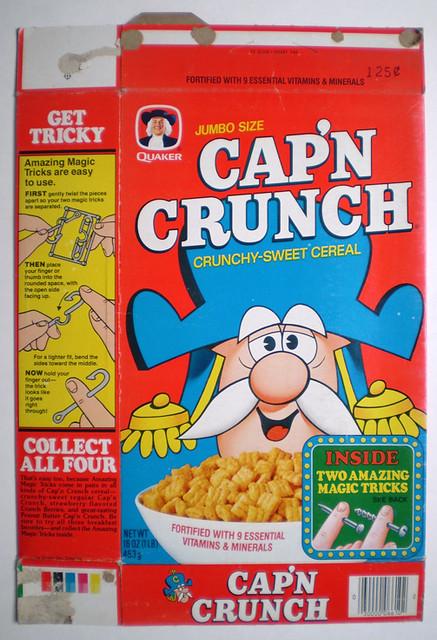 Vintage Quaker Cap'n Crunch Jumbo Size Cereal Box Magic Tricks