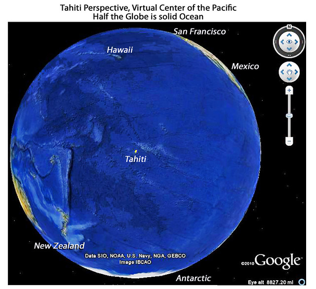 Tahiti, Teo of Teo, Teoti, Thoth, God of Gods: Virtual Center of the Pacific.  In one image, almost half the globe is a single ocean.
