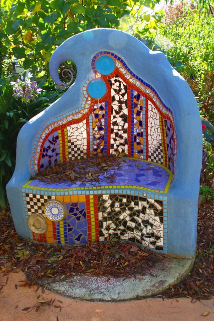Superb Mosaic Garden Bench Autumn Leaves Strewn Over The Seat And Ibusinesslaw Wood Chair Design Ideas Ibusinesslaworg