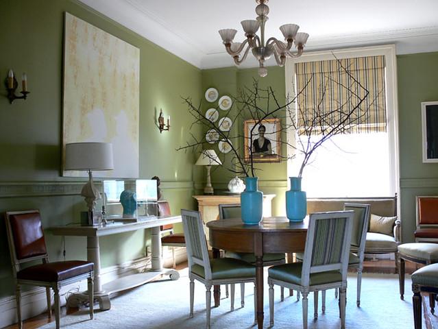 'Curlish Green' by Farrow & Ball: Dining room by Shelia Bridges
