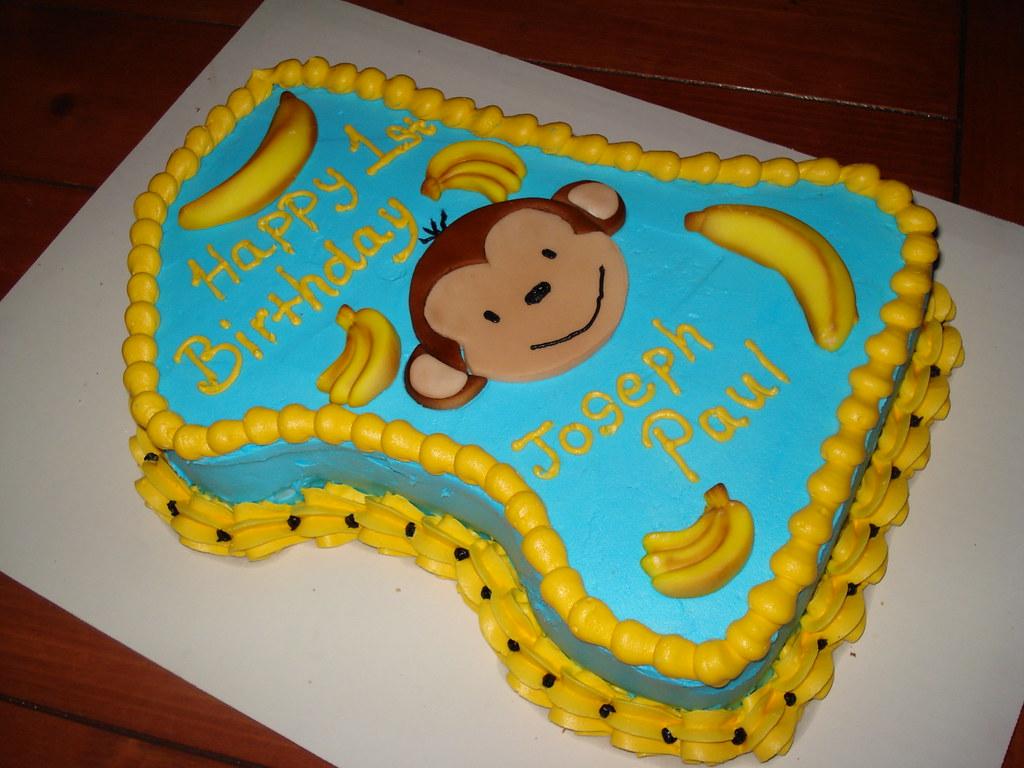 Wondrous First Birthday Monkey Cake First Birthday Monkey Cake Flickr Personalised Birthday Cards Veneteletsinfo