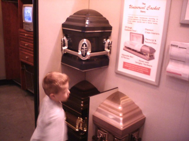 Costco caskets | My nephew Zack browsing caskets for sale at