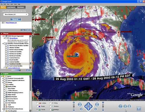 Huracan Katrina en Google Maps