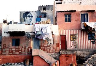 Umm Kalthoum overlooking Cairo slum
