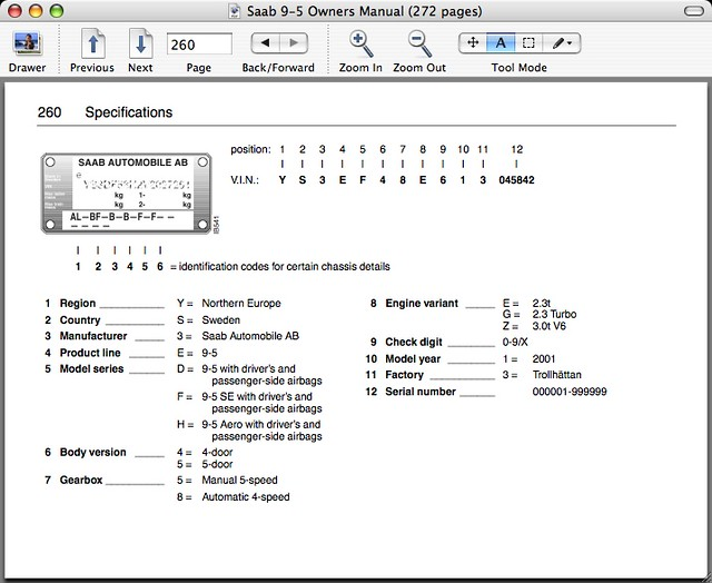 Saab 9-5 Vin Decoder | VIN Decoder page out of the PDF manua