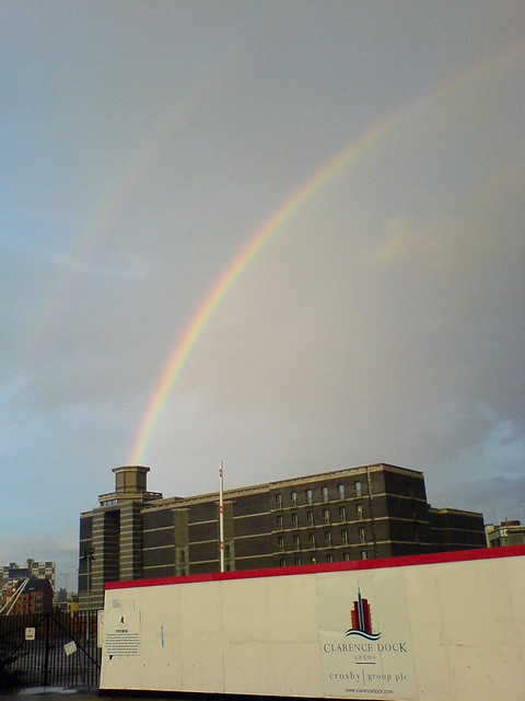 Spotted. Rainbows being fired from Leeds landmarks